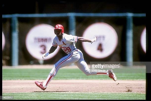 Vince Coleman of the St Louis Cardinals in action