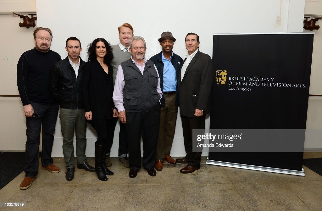 Vince DiPersio, Rob Bagshaw, Shana Mabari, Herb Ankrom, Gary Dartnall, Daryl McCrane and Donald Haber attend the BAFTA LA Reality TV Master Class led by Rob Bagshaw at George Washington Preparatory High School on March 12, 2013 in Los Angeles, California.