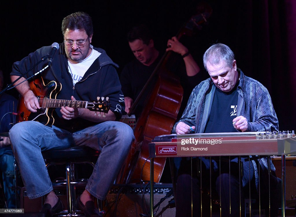 Vince Gill and Paul Franklin member of The Time Jumpers perform at 3rd and Lindsley on February 24 2014 in Nashville Tennessee