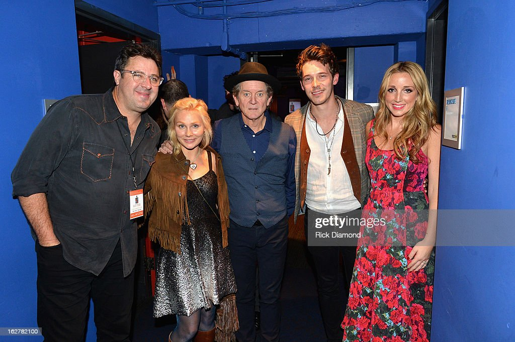 Vince Gill, Clare Bowen, Rodney Crowell, Sam Palladio and Ashley Monroe attends the All For the Hall New York concert benefiting the Country Music Hall of Fame at Best Buy Theater on February 26, 2013 in New York City.
