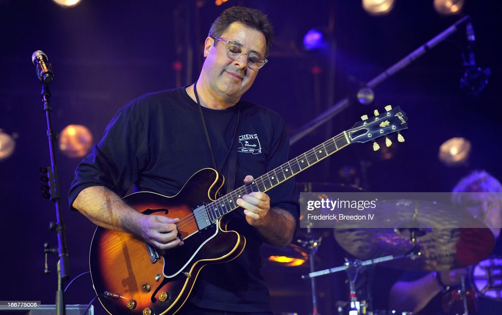 Vince Gill performs during Keith Urban's Fourth annual We're All For The Hall benefit concert at Bridgestone Arena on April 16 2013 in Nashville...