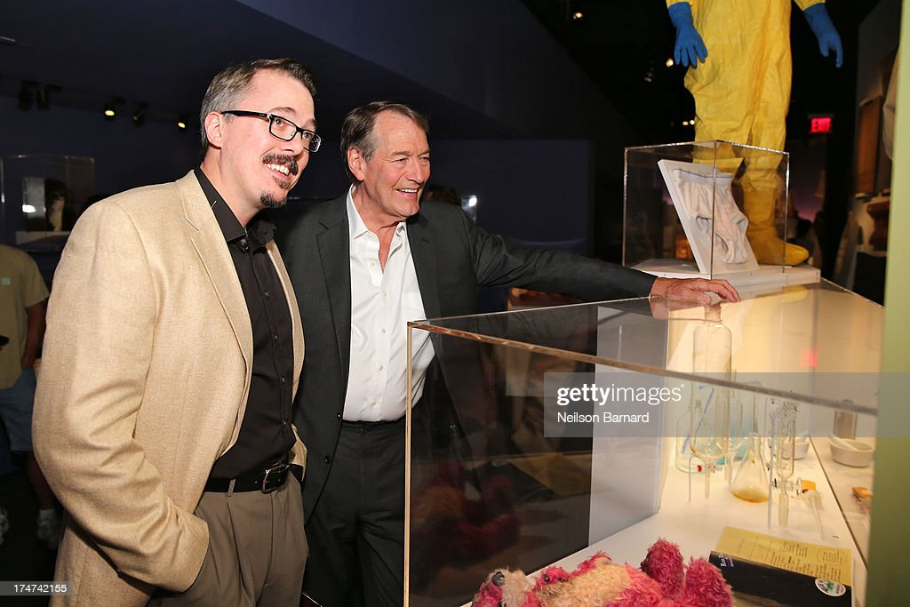 Vince Gilligan and Charlie Rose attend Making Bad An Evening with Vince Gilligan at Museum of Moving Image on July 28 2013 in New York City