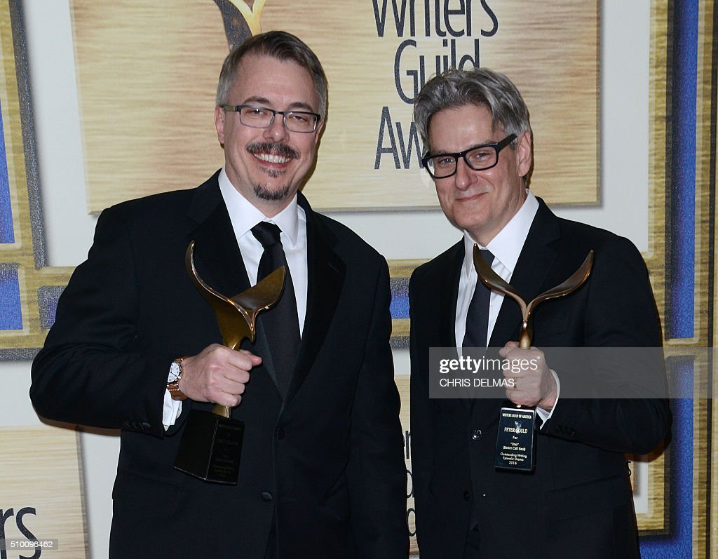 Vince Gilligan and Peter Gould poses in the press room at the Writers Guild Awards, in Century City, California, February 13, 2016 / AFP / CHRIS DELMAS