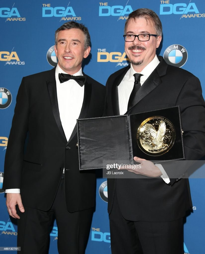 Vince Gilligan and Steve Coogan attend the 66th Annual Directors Guild Of America Awards - Press Room held at the Hyatt Regency Century Plaza on January 25, 2014 in Century City, California.