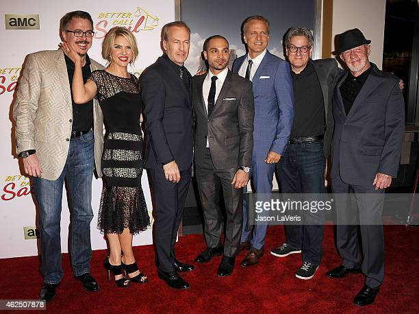 Vince Gilligan Rhea Seehorn Michael Mando Bob Odenkirk Patrick Fabian Peter Gould and Jonathan Banks attend the premiere of 'Better Call Saul' at...