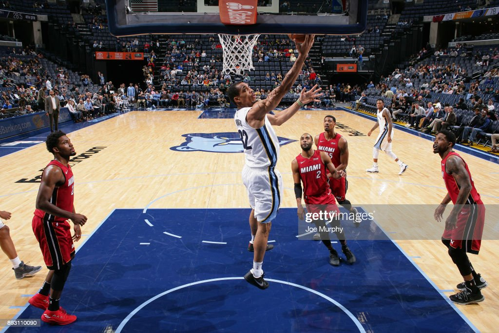 Vince Hunter #32 of the Memphis Grizzlies goes for a lay up against the Miami Heat on December 11, 2017 at FedExForum in Memphis, Tennessee.
