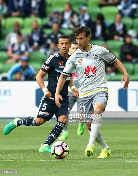 Vince Lia of the Phoenix controls the ball during the round 25 ALeague match between the Melbourne Victory and the Wellington Phoenix at AAMI Park on...