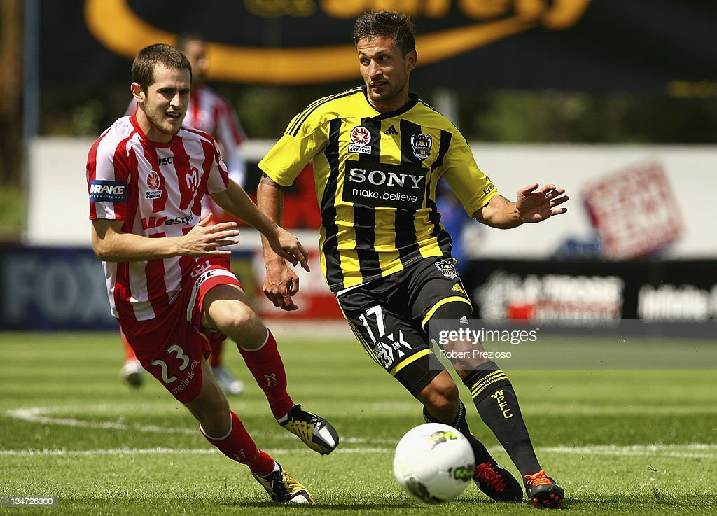 Vince Lia of the Phoenix controls the ball during the round nine A-League match between the Melbourne Heart and the Wellington Phoenix at Latrobe City Sports & Entertainment Complex on December 4, 2011 in Melbourne, Australia.