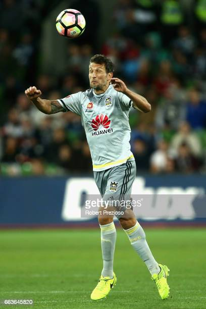 Vince Lia of the Phoenix heads the ball during the round 25 ALeague match between the Melbourne Victory and the Wellington Phoenix at AAMI Park on...