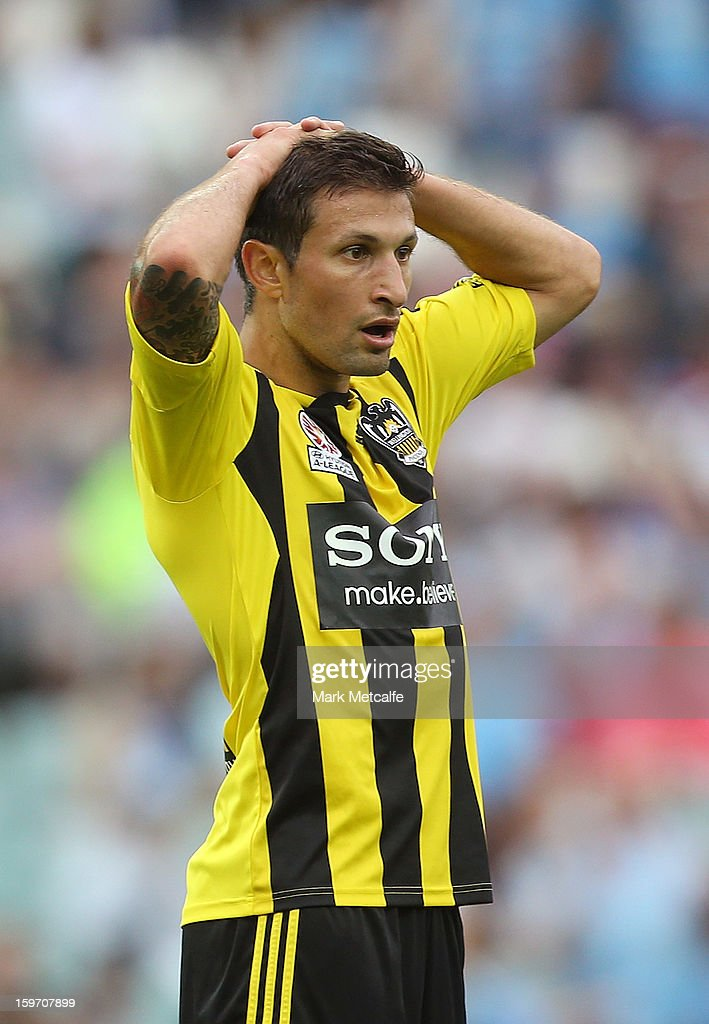 Vince Lia of the Phoenix reacts to a Sydney goal during the round 17 A-League match between Sydney FC and the Wellington Phoenix at Allianz Stadium on January 19, 2013 in Sydney, Australia.