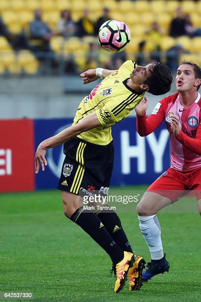 Vince Lia of the Wellington Phoenix during the round 20 ALeague match between the Wellington and Melbourne City at Westpac Stadium on February 18...