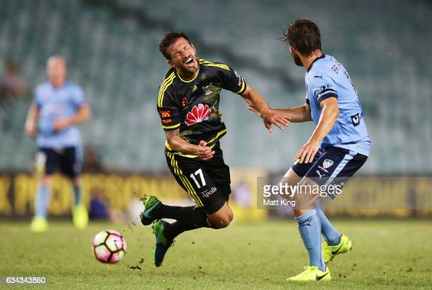 Vince Lia of Wellington Phoenix clashes with Joshua Brillante of Sydney FC during the round 19 ALeague match between Sydney FC and the Wellington...
