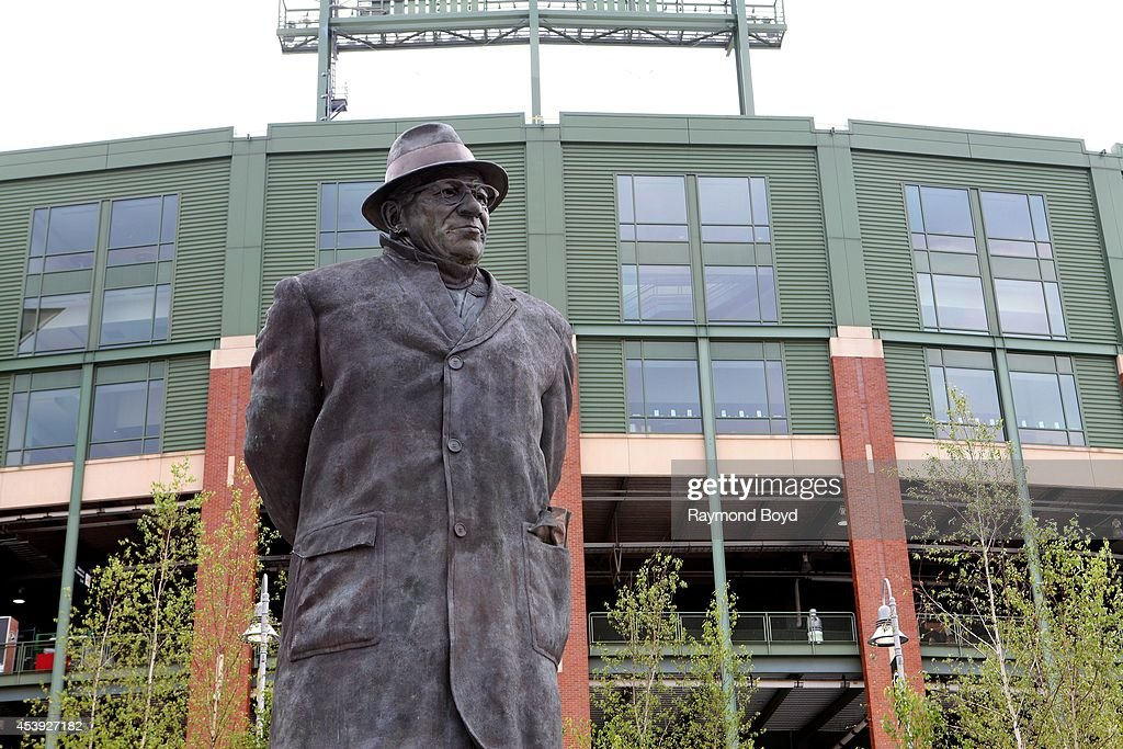Vince Lombardi statue sits in Harlan Plaza at Lambeau Field, home of the Green Bay Packers football team on August 16, 2014 in Green Bay, Wisconsin.