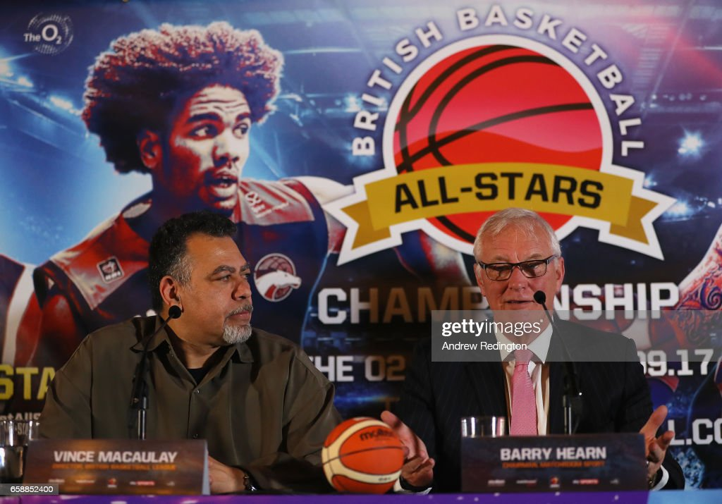 Vince Macaulay (Director British Basketball League) and Barry Hearn (Chairman Matchroom Sport) are pictured during an announcement by Barry Hearn and Matchroom Sport on March 28, 2017 at the O2 in London, England.
