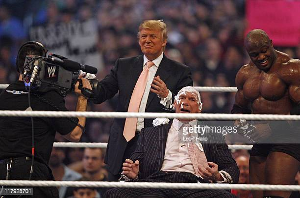 Vince McMahon gets his head shaved by Stone Cold Steve Austin and Donald Trump at WrestleMania 23 at Detroit's Ford Field in Detroit Michigan on...