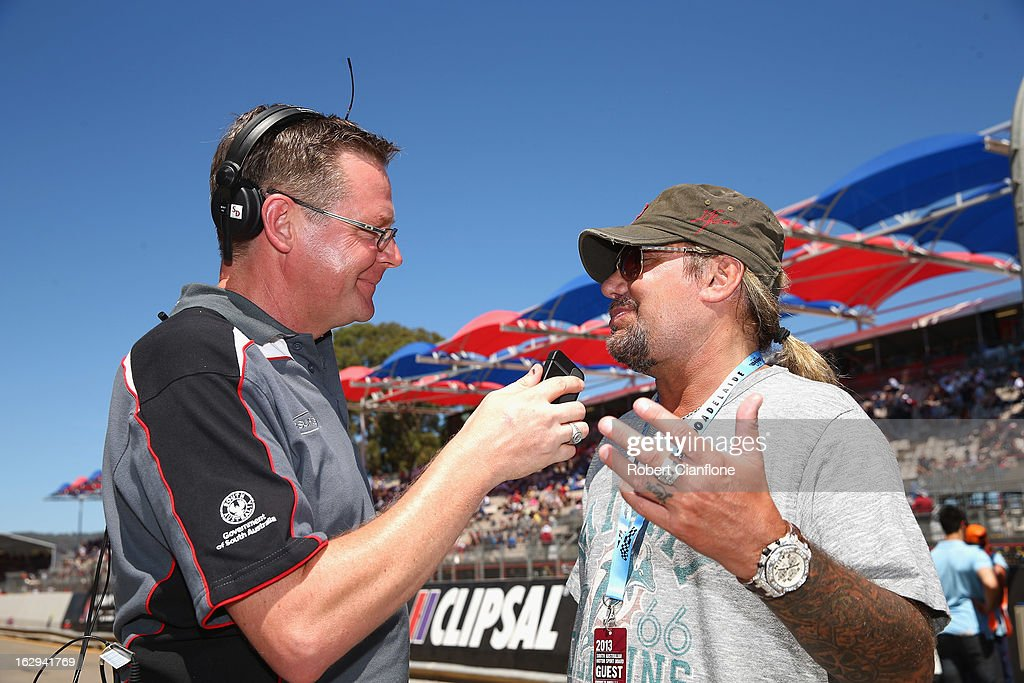 Vince Neal, singer forrock band Motley Crue is seen in pit lane prior to race one of the Clipsal 500, which is round one of the V8 Supercar Championship Series, at the Adelaide Street Circuit on March 2, 2013 in Adelaide, Australia.
