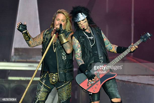 Vince Neil and Nikki Sixx of Motley Crue perform live on stage on Day 3 of the Download Festival at Donington Park on June 14 2015 in Castle...