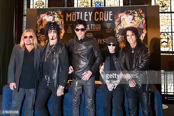 Vince Neil Nikki Sixx Tommy Lee and Mick Mars of Motley Crue together with Alice Cooper attend the last ever European press conference for Motley...