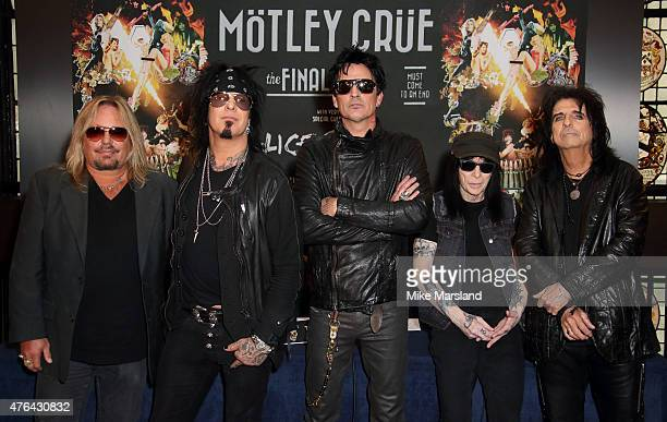 Vince Neil Nikki Sixx Tommy Lee Mick Mars and Alice Cooper attend the last ever European press conference for Motley Crue at Law Society on June 9...