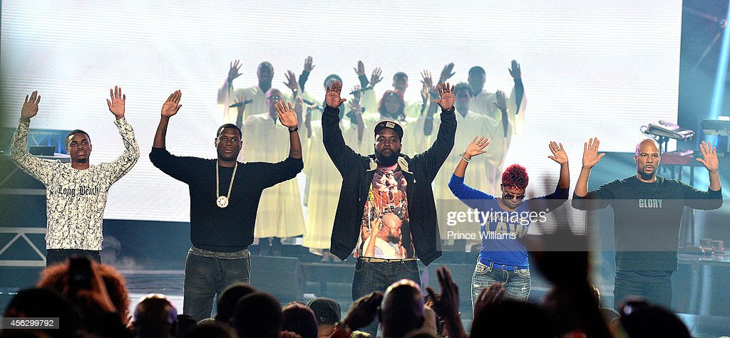 Vince Staples Jay Electronica Michael Brown Sr LesLey McSpadden and Common onstage at the BET Hip Hop awards at Boisfeuillet Jones Atlanta Civic...