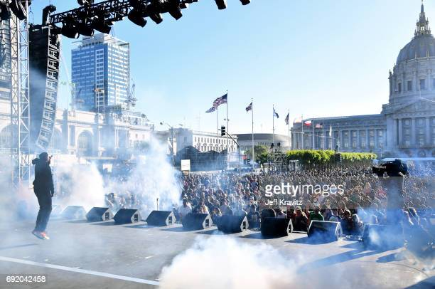 Vince Staples performs onstage at the Colossal Stage during Colossal Clusterfest at Civic Center Plaza and The Bill Graham Civic Auditorium on June 3...