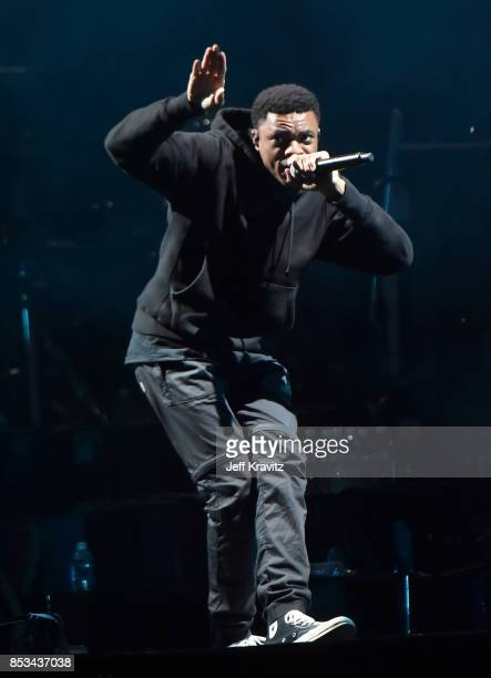 Vince Staples performs with Gorillaz on Downtown Stage during day 3 of the 2017 Life Is Beautiful Festival on September 24 2017 in Las Vegas Nevada