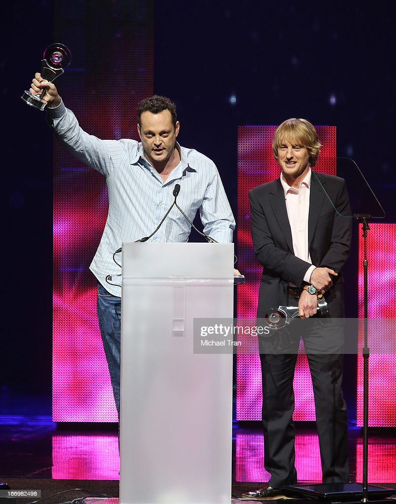<a gi-track='captionPersonalityLinkClicked' href=/galleries/search?phrase=Vince+Vaughn&family=editorial&specificpeople=182440 ng-click='$event.stopPropagation()'>Vince Vaughn</a> (L) and <a gi-track='captionPersonalityLinkClicked' href=/galleries/search?phrase=Owen+Wilson&family=editorial&specificpeople=202027 ng-click='$event.stopPropagation()'>Owen Wilson</a> accept the award for 'Comedy Duo of the Year' at CinemaCon 2013 Big Screen Achievement Awards held at Caesars Palace during CinemaCon, the official convention of the National Association of Theatre Owners on April 18, 2013 in Las Vegas, Nevada.
