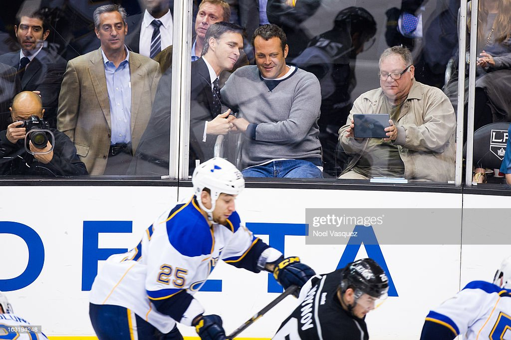 <a gi-track='captionPersonalityLinkClicked' href=/galleries/search?phrase=Vince+Vaughn&family=editorial&specificpeople=182440 ng-click='$event.stopPropagation()'>Vince Vaughn</a> attends a hockey game between the St. Louis Blue and Los Angeles at Staples Center on March 5, 2013 in Los Angeles, California.