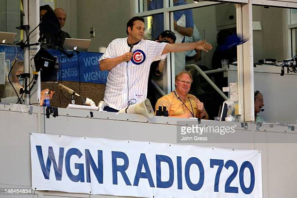 Vince Vaughn sings 'Take Me Out to the Ballgame' during the 7th Inning Stretch at Chicago Cubs vs Boston Red Sox during TBS Just For Laughs Chicago...