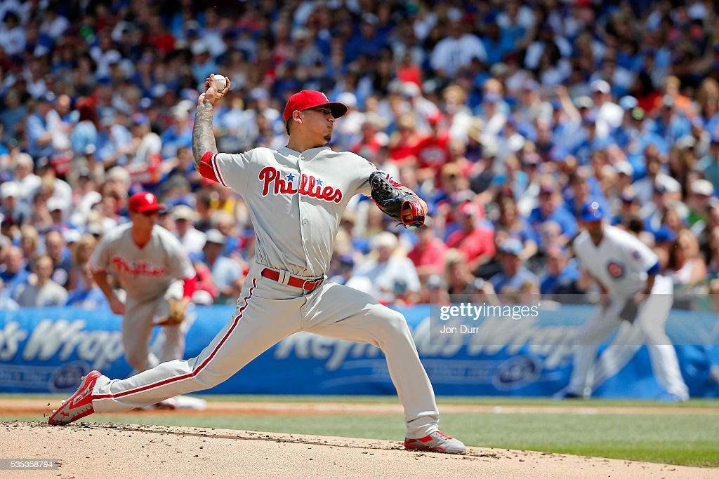 Vince Velasquez #28 of the Philadelphia Phillies pitches against the Chicago Cubs during the first inning at Wrigley Field on May 29, 2016 in Chicago, Illinois.