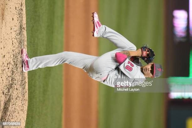 Vince Velasquez of the Philadelphia Phillies pitches during game two of baseball game against the Washington Nationals at Nationals Park on May 14...