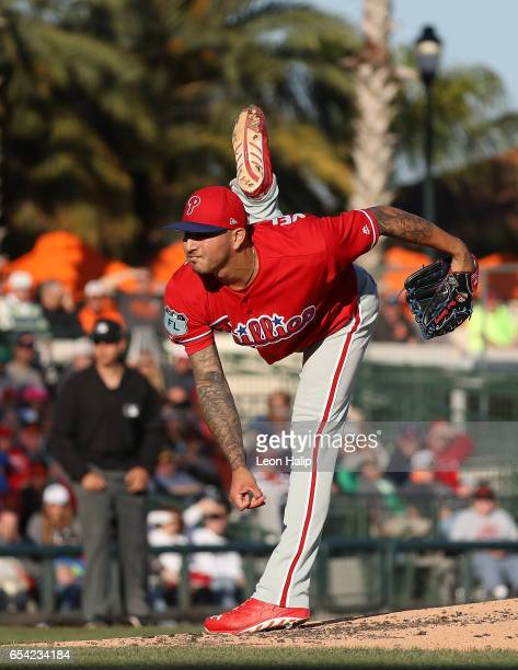 Vince Velasquez of the Philadelphia Phillies pitches during the first inning of the Spring Training Game against the Baltimore Orioles on March 16...