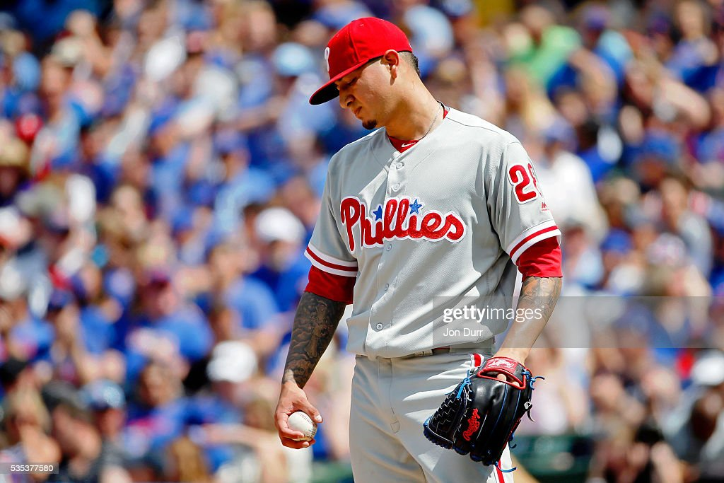 Vince Velasquez #28 of the Philadelphia Phillies reacts after walking Dexter Fowler #24 of the Chicago Cubs (not pictured) during the fifth inning at Wrigley Field on May 29, 2016 in Chicago, Illinois.