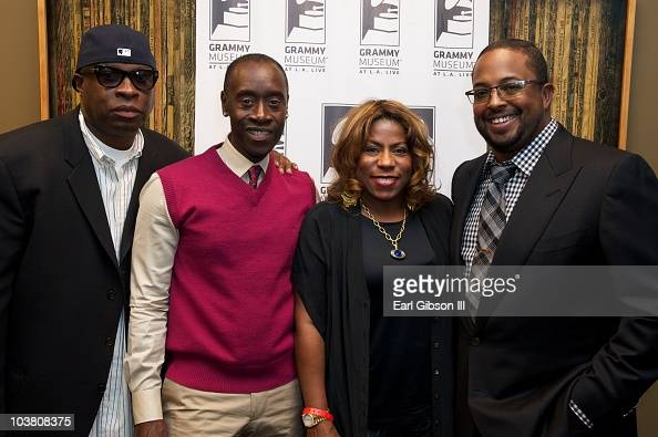 Vince Wilburn Jr Don Cheadle Cheryl Davis and Erin Davis pose at the GRAMMY Museum Honors The 40th Anniversary Of Miles Davis' 'Bitches Brew' on...