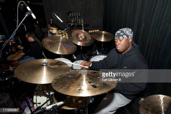 Vince Wilburn Jr prepares himself at the Bitches Brew 40th Anniversary Band Rehearsal during the 2011 Miles Davis Festival on March 30 2011 in...