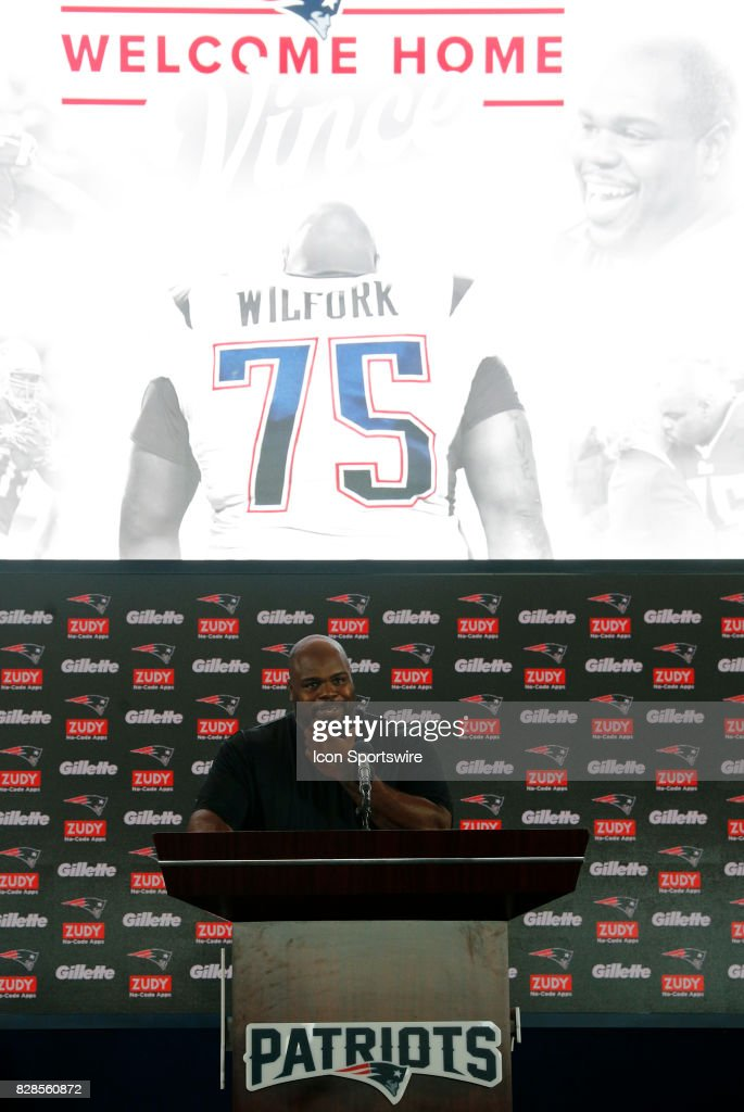 Vince Wilfork announces his retirement from the game during a joint New England Patriots and Jacksonville Jaguars training camp on August 9, 2017, at Gillette Stadium in Foxborough, Massachusetts.