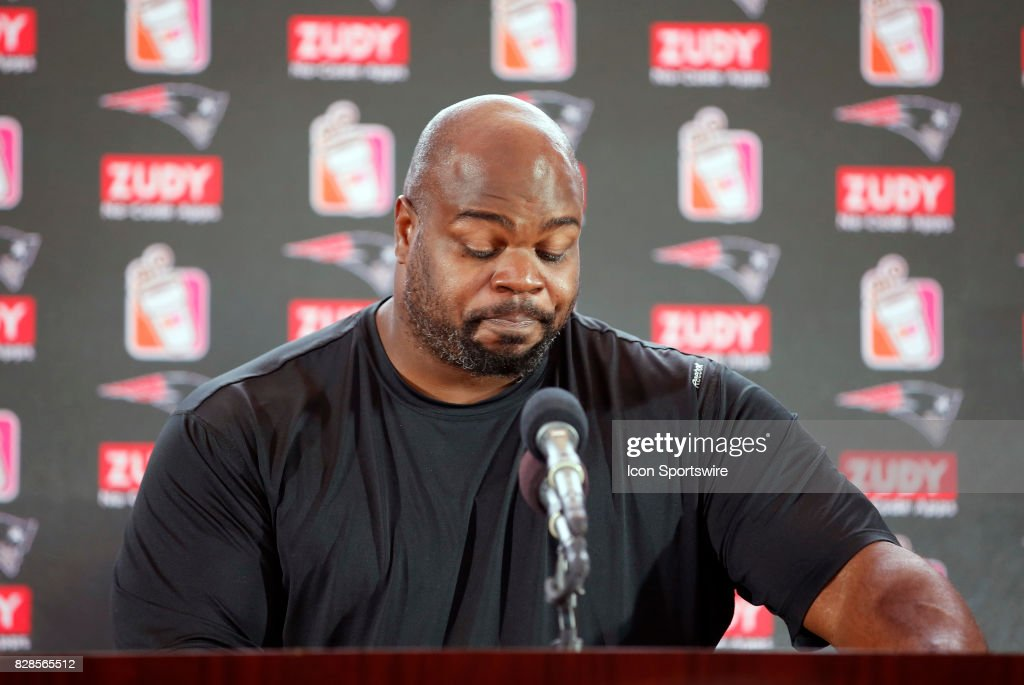 Vince Wilfork becomes emotional during his retirement announcement during a joint New England Patriots and Jacksonville Jaguars training camp on August 9, 2017, at Gillette Stadium in Foxborough, Massachusetts.
