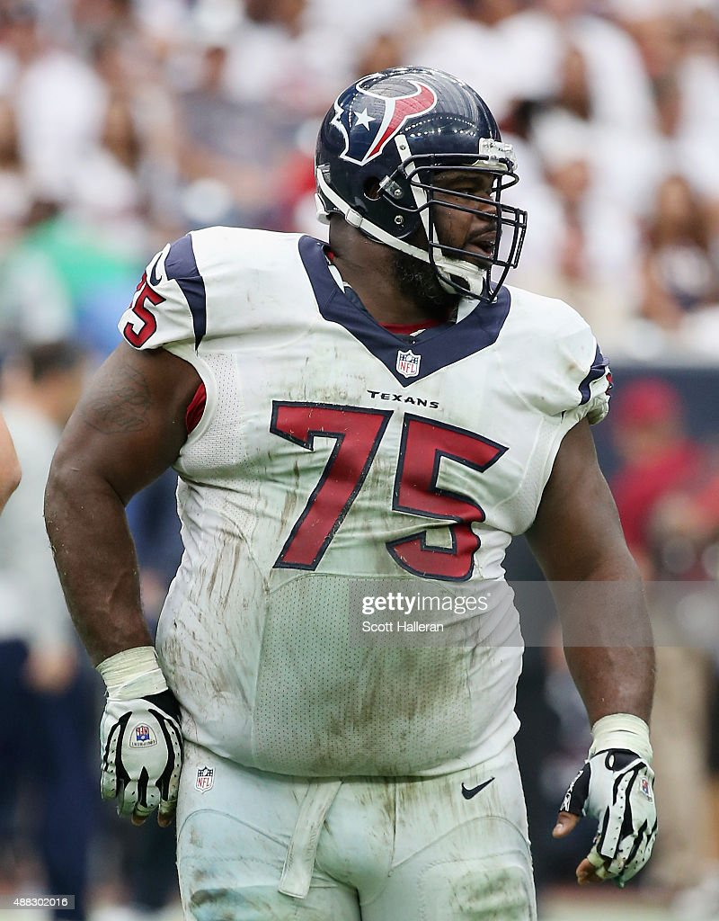 <a gi-track='captionPersonalityLinkClicked' href=/galleries/search?phrase=Vince+Wilfork&family=editorial&specificpeople=226996 ng-click='$event.stopPropagation()'>Vince Wilfork</a> #75 of the Houston Texans waits on the field during their game against the Kansas City Chiefs at NRG Stadium on September 13, 2015 in Houston, Texas.