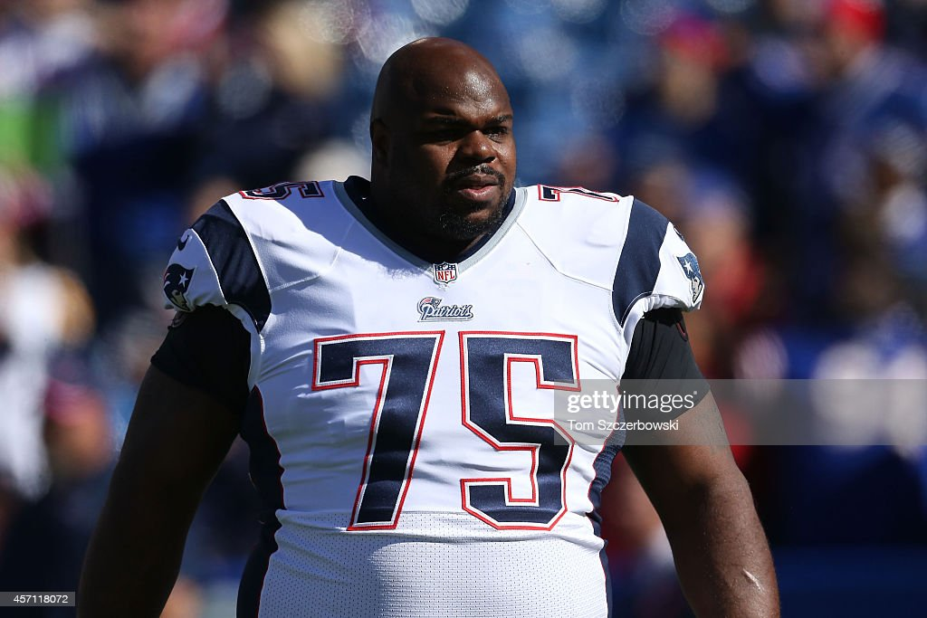 <a gi-track='captionPersonalityLinkClicked' href=/galleries/search?phrase=Vince+Wilfork&family=editorial&specificpeople=226996 ng-click='$event.stopPropagation()'>Vince Wilfork</a> #75 of the New England Patriots warms up before the first half against the Buffalo Bills at Ralph Wilson Stadium on October 12, 2014 in Orchard Park, New York.