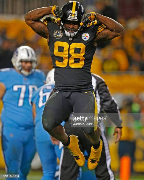 Vince Williams of the Pittsburgh Steelers reacts after a sack of Marcus Mariota of the Tennessee Titans in the second half during the game at Heinz...