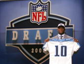 Vince Young of the University of Texas is drafted third overall by the Tennessee Titans during the 2006 NFL Draft on April 29 2006 at Radio City...