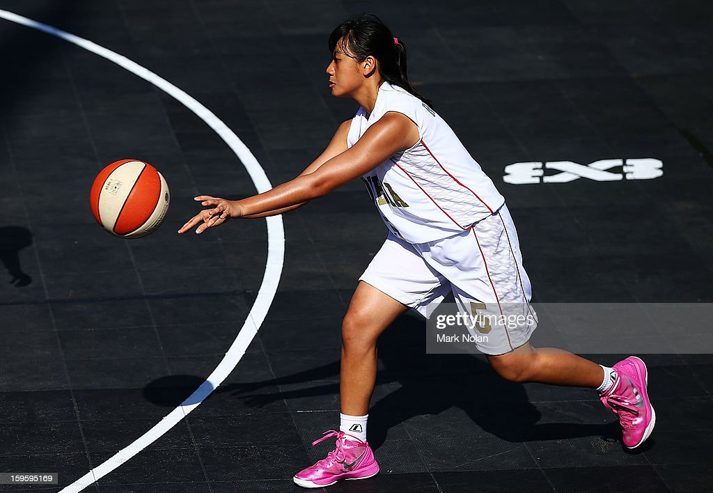 Vincensia Vinni Rushadi of Indonesia in action in the Womens Basketball 3x3 match between Indonesia and Combined Oceaniea during day two of the 2013 Australian Youth Olympic Festival at Darling Harbour on January 17, 2013 in Sydney, Australia.
