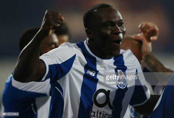 Vincent Aboubakar from Cameroon celebrates after a goal during the Portuguese Cup match between Lusitano Ginasio Clube and FC Porto at Estadio do...
