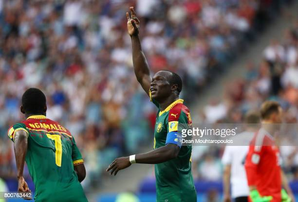Vincent Aboubakar o Cameroon celebrates scoring his sides first goal during the FIFA Confederations Cup Russia 2017 Group B match between Germany and...