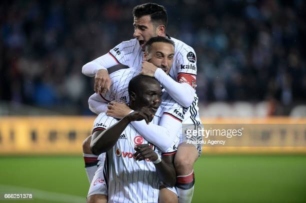 Vincent Aboubakar of Besiktas celebrate his score with his team mates during Turkish Spor Toto Super Lig match between Trabzonspor and Besiktas at...