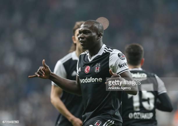 Vincent Aboubakar of Besiktas celebrates after scoring a goal during the Turkish Spor Toto Super Lig football match between Besiktas and Adanaspor at...
