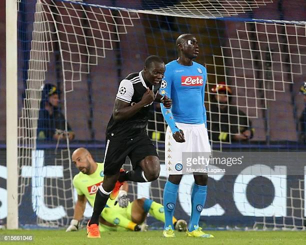 Vincent Aboubakar of Besiktas celebrates after scoring his team's second goal during the UEFA Champions League match between SSC Napoli and Besiktas...
