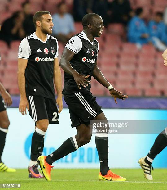 Vincent Aboubakar of Besiktas celebrates after scoring his team's third goal during the UEFA Champions League match between SSC Napoli and Besiktas...