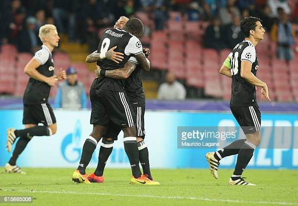 Vincent Aboubakar of Besiktas celebrates his team's third goal during the UEFA Champions League match between SSC Napoli and Besiktas JK at Stadio...