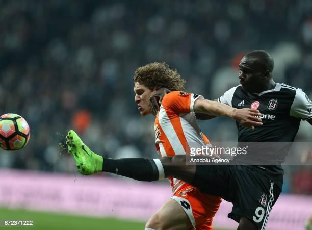 Vincent Aboubakar of Besiktas in action against Renan Rodrigues Da Silva of Adanaspor during the Turkish Spor Toto Super Lig football match between...